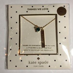 Kate Spade Emerald Birthday Stone Necklace NWT